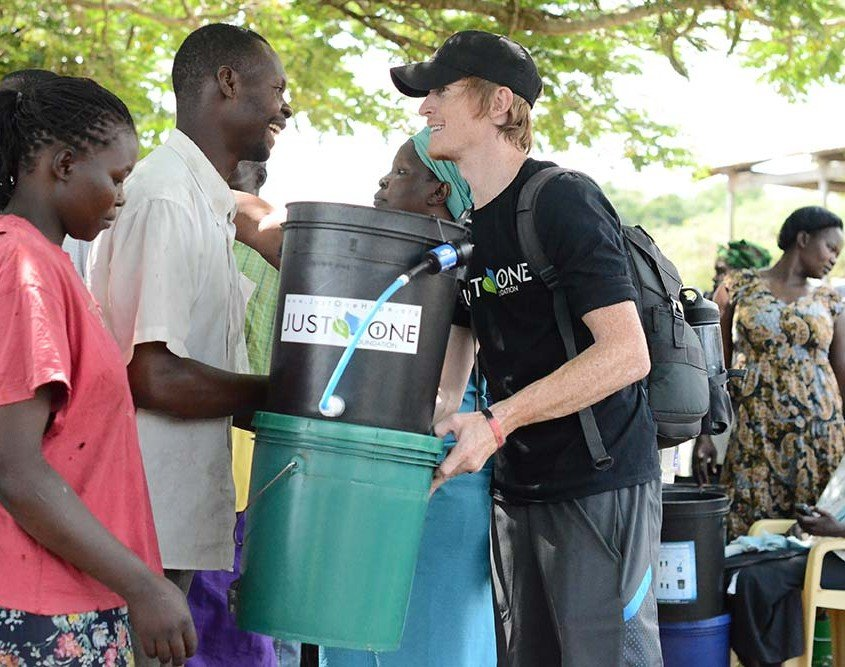 Alastair Wilde distributing water filters in Kenya