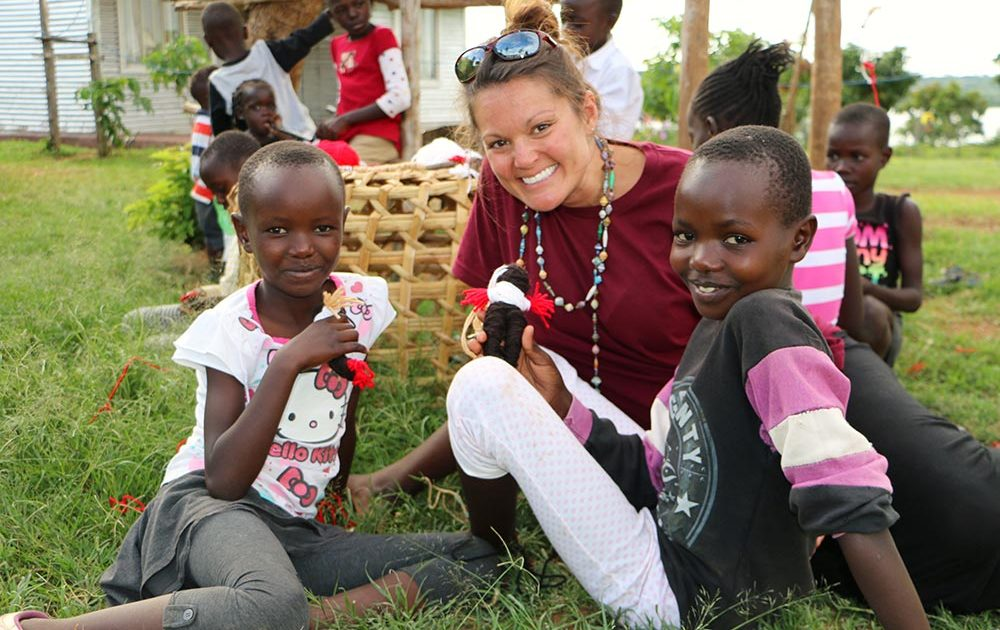 Ashley Guzman in Kenya with friends at Salem Orphanage