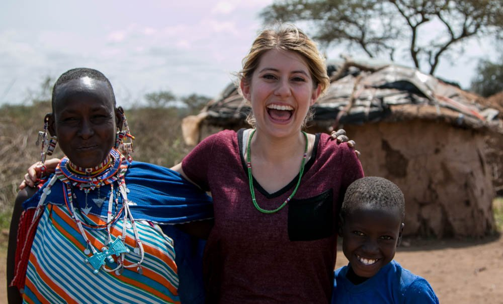 Stephanie in southern Kenya with her new Maasai friends