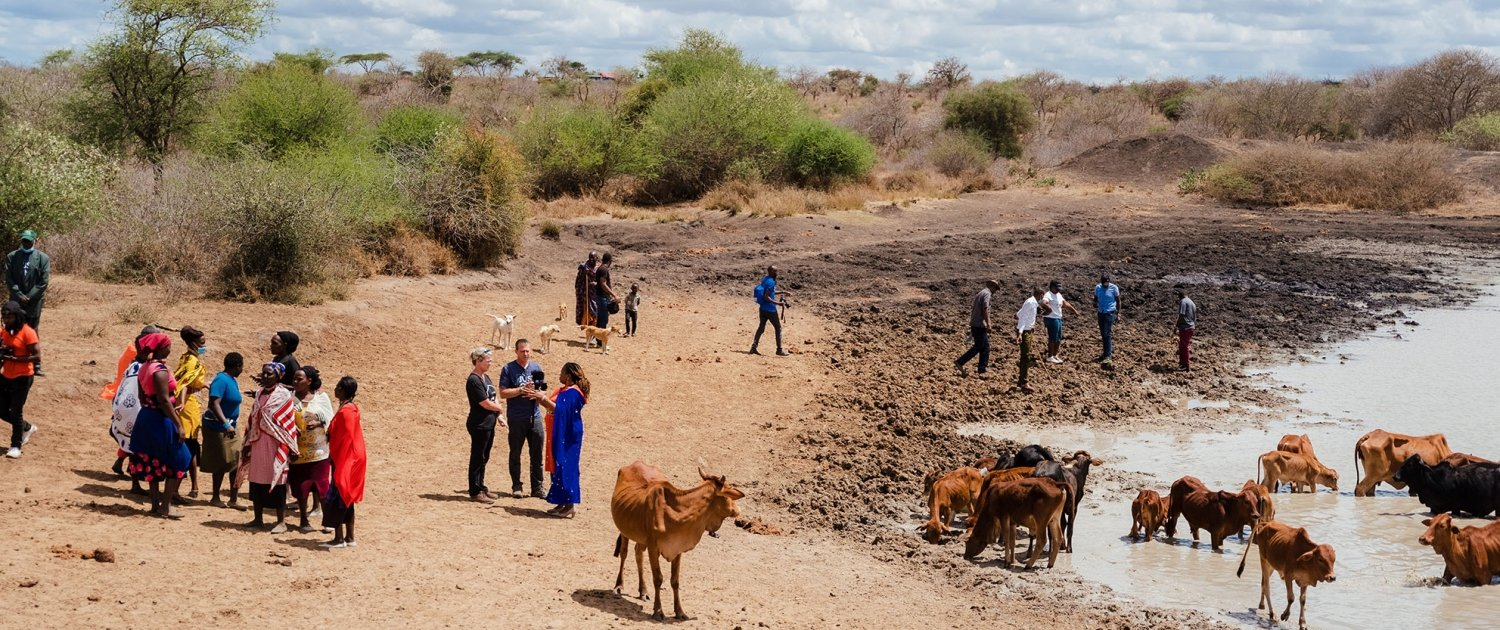 Water Pan Filter Distribution - Local water source shared with cows, zebras, goats, donkeys, elephants and everyone elese