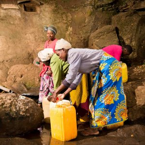 World Water Day - Women Collecting Water at the based of Mt. Kilimanjaro.